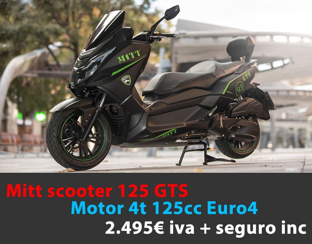 Mitt 125 GTS 2.495€  iva + seguro incluido